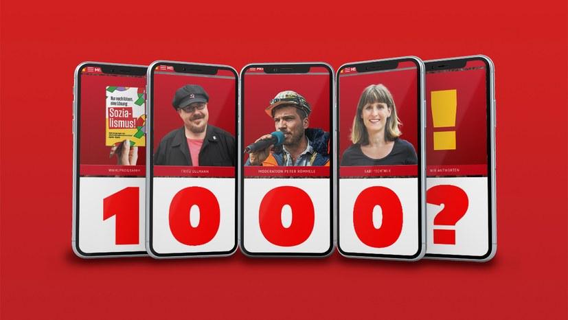 1000 Fragen - wir antworten! Mittwoch, 22. September, Sozialismus-Diskussion mit Gabi Fechtner und Fritz Ullmann nach dem Wahlspot