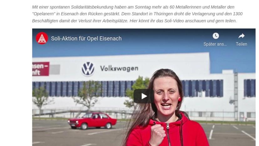 Solidaritätsaktion der VW-Belegschaft für Eisenacher Opelaner