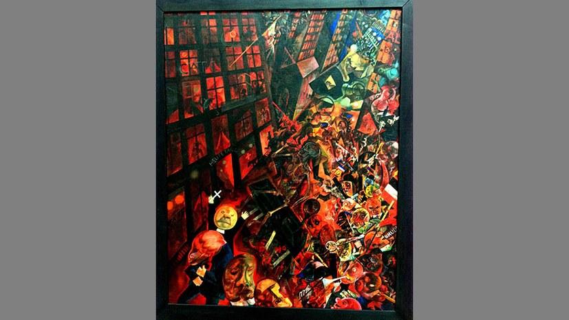 George Grosz malt ein Begräbnis