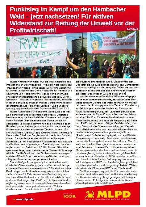 Punktsieg im Kampf um den Hambacher Wald - jetzt nachsetzen! Für aktiven Widerstand zur Rettung der Umwelt vor der Profitwirtschaft!