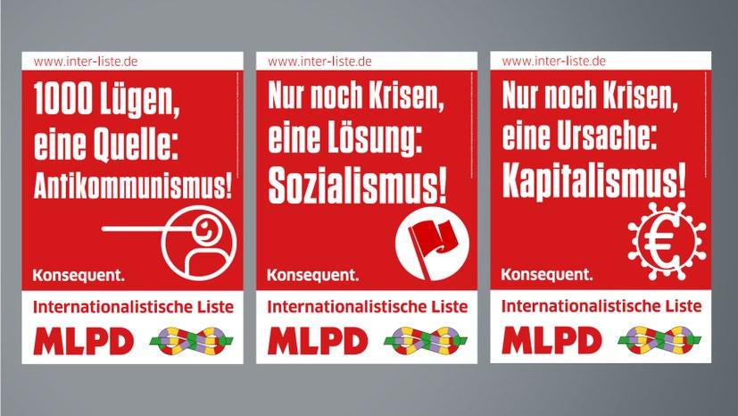 Wahlplakate der Internationalistischen Liste/MLPD zur Bundestagswahl