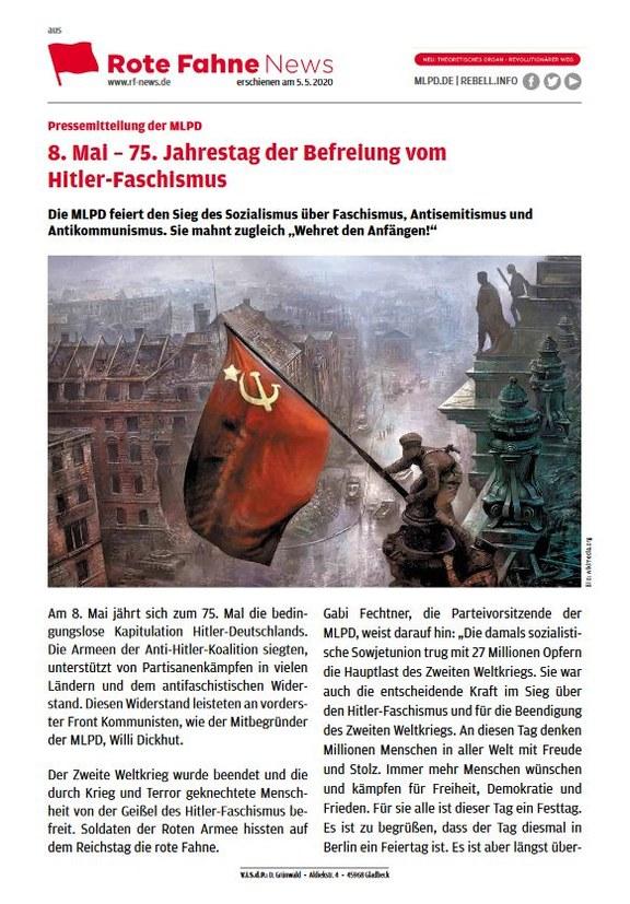 8. Mai – 75. Jahrestag der Befreiung vom  Hitler-Faschismus